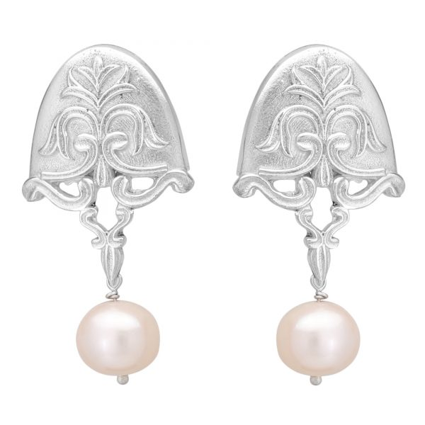 92.5 Sterling Silver Pearl Drop Semi-circular Earrings