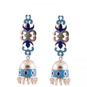 92.5 Sterling Silver Dual Shade Blue Enamel Jhumki