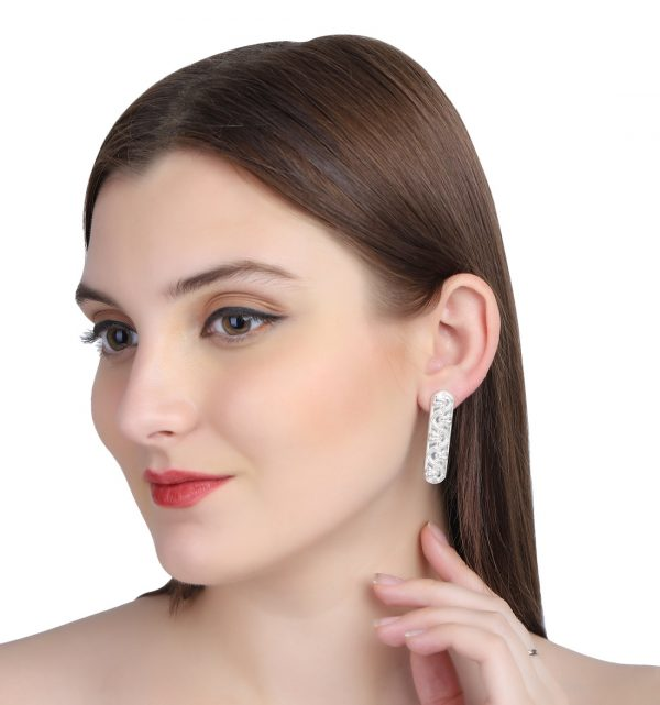 Silver Magical Floral Linear Ear Studs