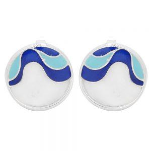 92.5 Sterling Silver Blue Ocean Silver Earrings