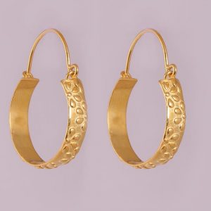 92.5 Sterling Silver Gold Plated Classic Hoops