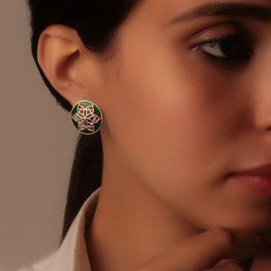 925 Silver Green Round Filigree Earrings