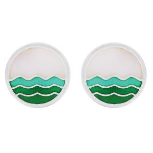 925 Silver Green Wave Earrings