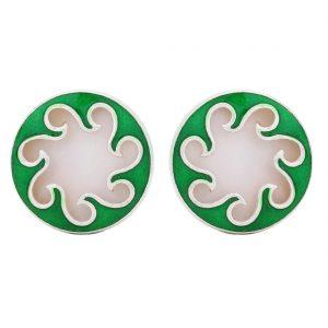 92.5 Sterling Silver Green Tidal Wave Earrings