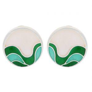 92.5 Sterling Silver Green Ocean Silver Earrings