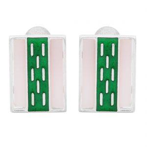 925 Silver Green Rain Earrings