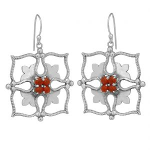92.5 Sterling Silver Red Square Filigree Earrings