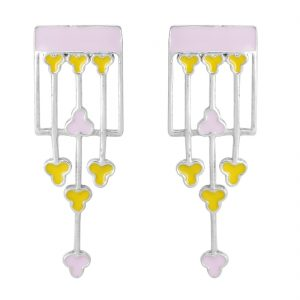 925 Silver Pink Yellow Rectangular Floral Earrings