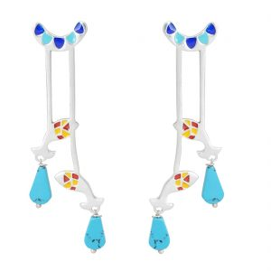 925 Silver Multicolour Fish Dangle Earrings