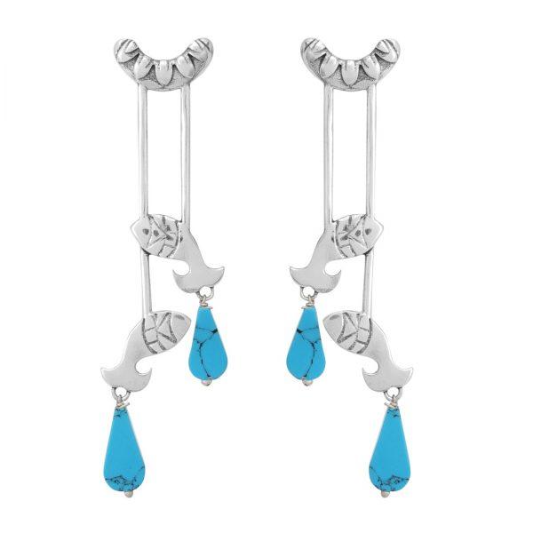 92.5 Sterling Silver Oxidized Fish Dangle Earrings