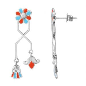 92.5 Sterling Silver Turquoise Blue and Orange Delicate Egyptian Flower Earrings