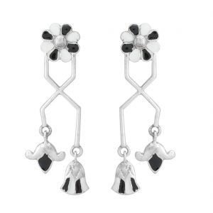 92.5 Sterling Silver Black and White Delicate Egyptian Flower Earrings