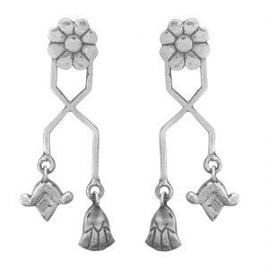 925 Silver Oxidized Delicate Egyptian Flower Earrings