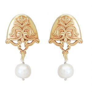 92.5 Sterling Silver Gold Plated Pearl Drop Semi-circular Earrings