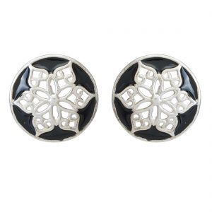 925 Silver Black Round Filigree Earrings