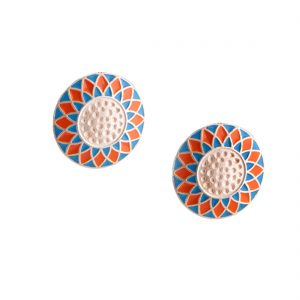 Silver Blue Orange Enamel Rangoli Round Studs