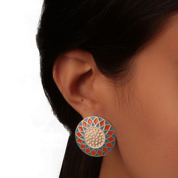 92.5 sterling silver Silver Dual Shade Orange Turquoise Blue Enamel Rangoli Round Studs