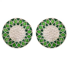 92.5 sterling silver Silver Dual Shade Green Enamel Rangoli Round Studs