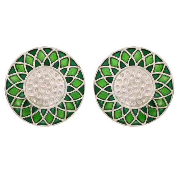 92.5 sterling silver Silver Dual Shade Green Enamel Rangoli Round Studs