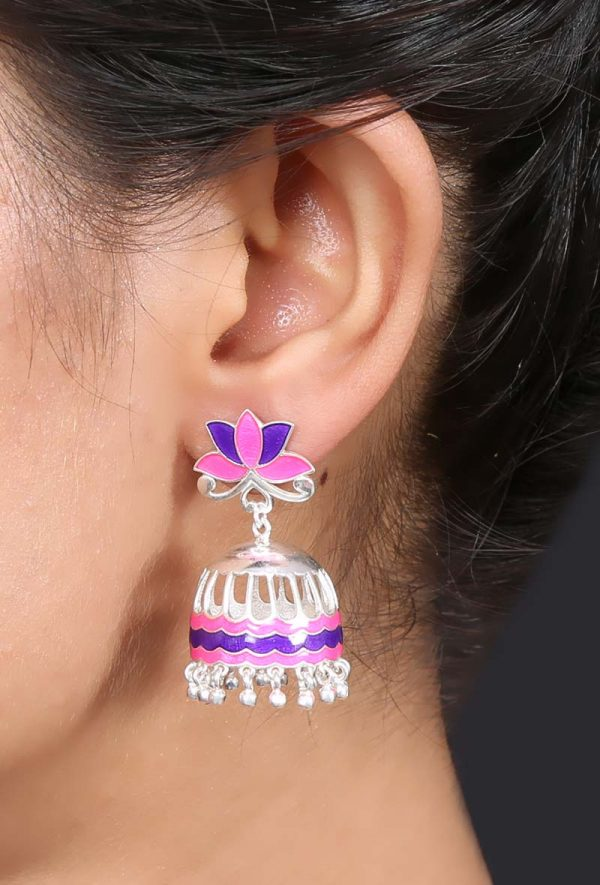 92.5 sterling silver jhumkis with pink purple enamel