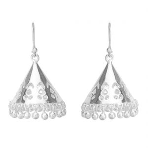 92.5 Sterling Silver Conical Cutwork Jhumki