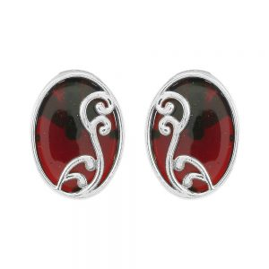 Silver Maroon Oval Filigree Ear Studs