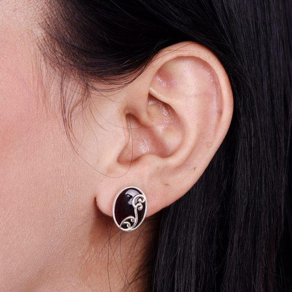Silver Maroon Oval Filigree Ear Studs